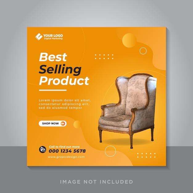 Modello di post sui social media per la vendita di mobili Vettore Premium