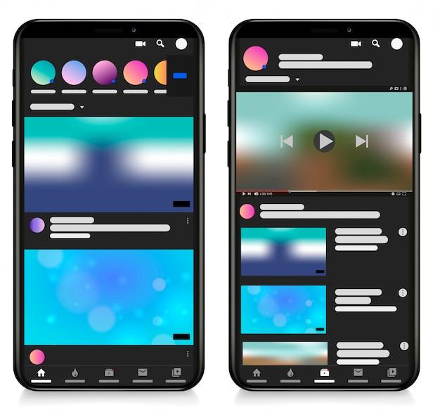 Lettore video mobile per modello di schermo dei social media lettore video del telefono, app, ui. blogging. canale. concetto di social media. illustrazione. Vettore Premium