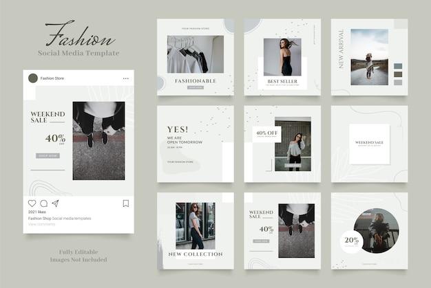 Promozione della vendita di moda banner modello di social media. puzzle con cornice quadrata instagram completamente modificabile Vettore Premium