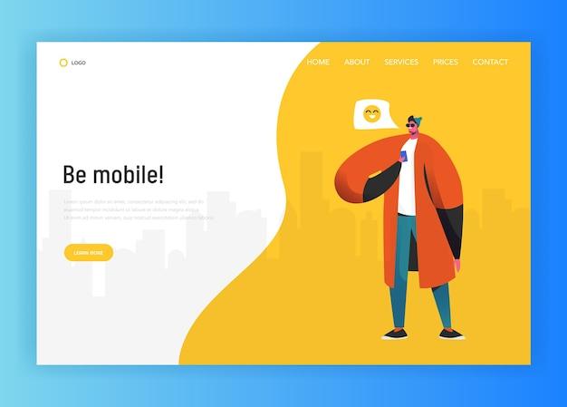 Modello di pagina di destinazione della rete sociale. carattere dell'uomo in chat utilizzando smartphone per sito web o pagina web. concetto di comunicazione virtuale. illustrazione vettoriale Vettore Premium