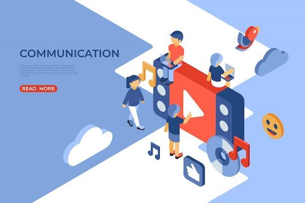 Pagina di destinazione isometrica di social network e comunicazione Vettore Premium