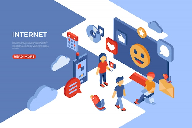 Social network e landing page isometrica di internet Vettore Premium