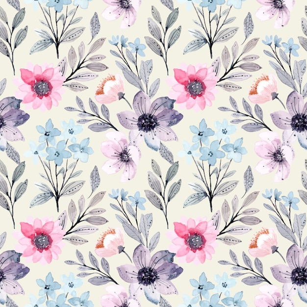 Modello senza cuciture dell'acquerello floreale porpora blu molle Vettore Premium