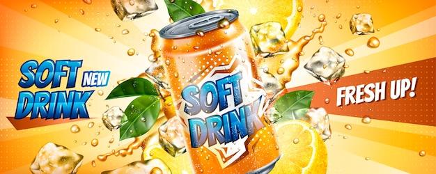 Banner pubblicitari di bevande analcoliche con cubetti di ghiaccio ed elementi di agrumi nell'illustrazione Vettore Premium