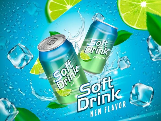 Soft drink contenuto in lattine metalliche con elementi limone e cubetto di ghiaccio, fondo azzurro Vettore Premium