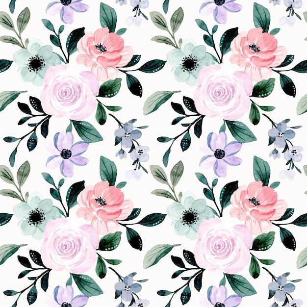Modello senza cuciture dell'acquerello floreale viola rosa morbido Vettore Premium