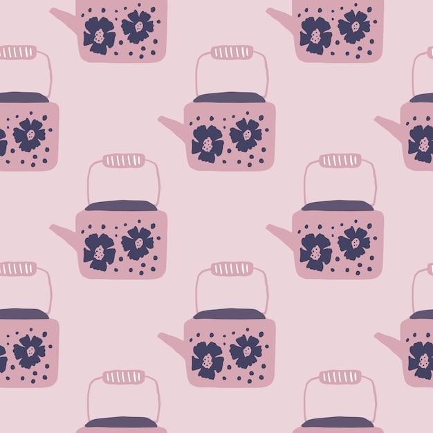 Teiere morbide senza cuciture ornamento senza cuciture. grafica tavolozza tono rosa. elementi teiera con stampa floreale. Vettore Premium