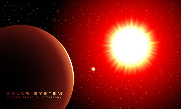 Il sole splende e i pianeti ruotano intorno. Vettore Premium