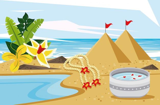 Festa di celebrazione di songkran con la ciotola del piatto sulla spiaggia Vettore Premium