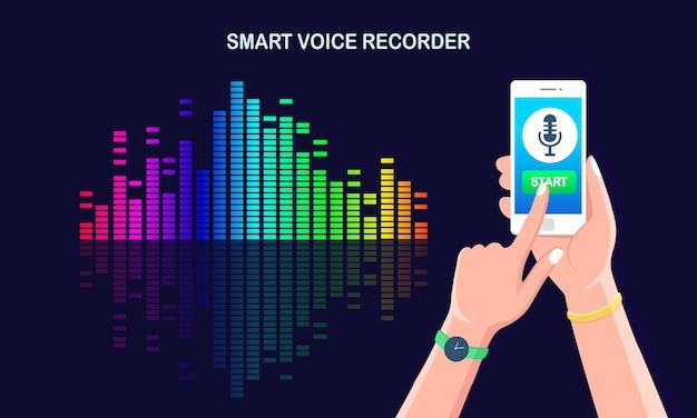 Onda del gradiente audio audio dall'equalizzatore. cellulare con l'icona del microfono sullo schermo. app per telefono cellulare per la registrazione della radio vocale digitale. frequenza della musica nello spettro dei colori. Vettore Premium