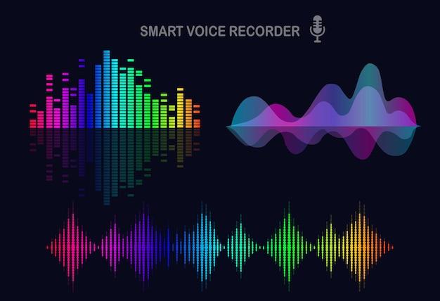 Onda audio sonora dall'equalizzatore. frequenza della musica nello spettro dei colori. Vettore Premium