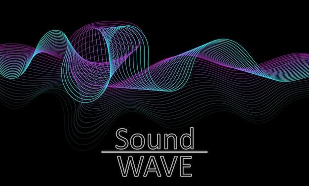 Onda sonora. forma astratta 3d. progettazione di flusso. Vettore Premium