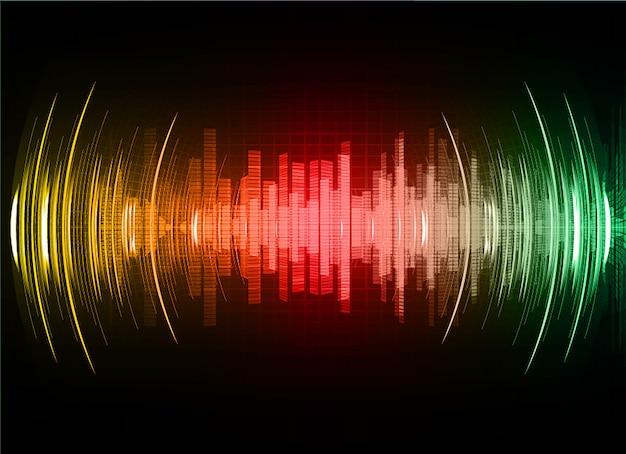 Onde sonore oscillanti luce rosso verde scuro Vettore Premium