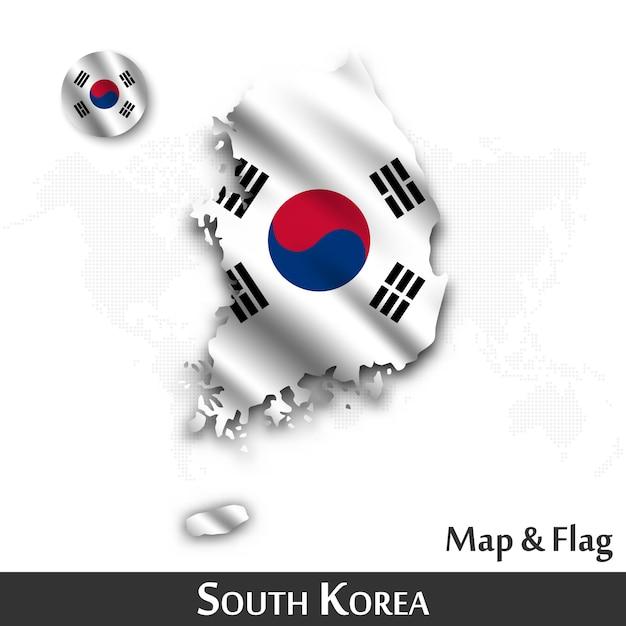Mappa e bandiera della corea del sud. agitando il design tessile. dot mappa del mondo di fondo. Vettore Premium