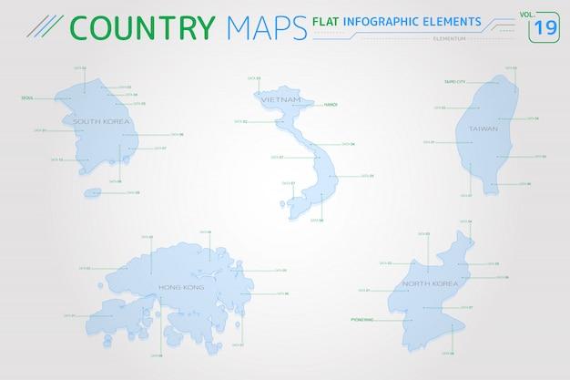 Mappe vettoriali di corea del sud, corea del nord, taiwan, vietnam e hong kong Vettore Premium