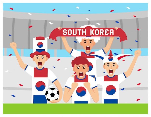 Sostenitori della corea del sud in design piatto Vettore Premium
