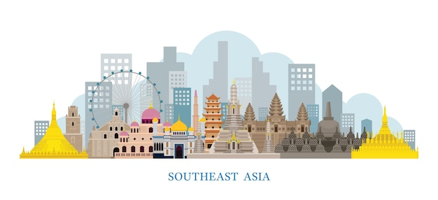 Luoghi d'interesse di skyline del sud-est asiatico Vettore Premium