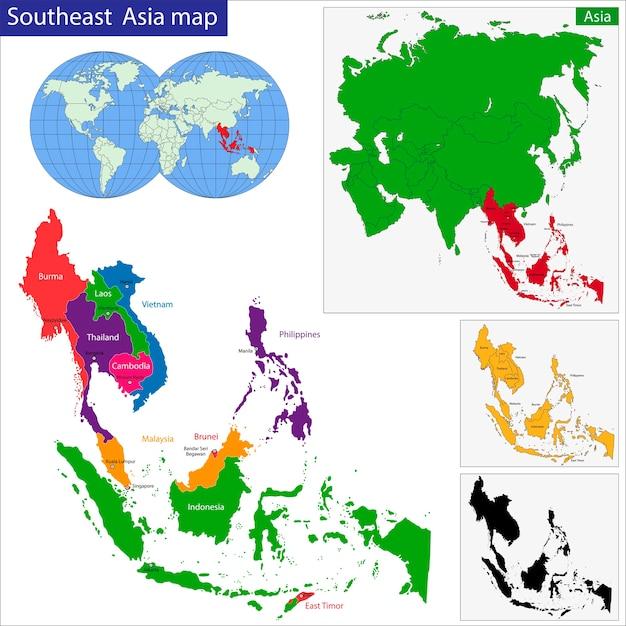 Mappa asia sud-orientale Vettore Premium