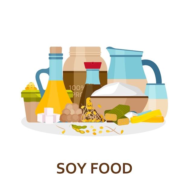 Sfondo di cibo di soia in stile piatto. Vettore Premium