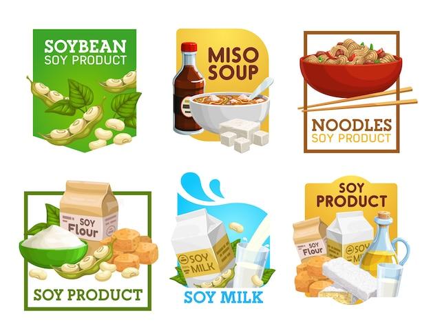 Cibo di soia e prodotti a base di soia icone vettoriali. Vettore Premium