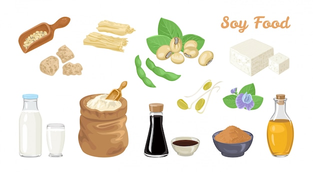 Set di alimenti a base di soia. Vettore Premium