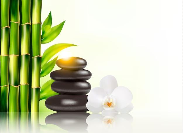 Sfondo spa con bambù e pietre. Vettore Premium