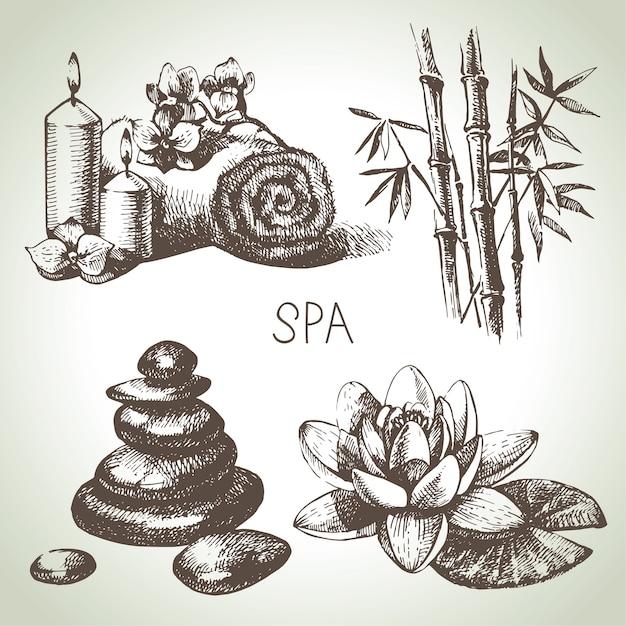 Insieme dell'icona di schizzo spa. illustrazioni disegnate a mano dell'annata di bellezza Vettore Premium