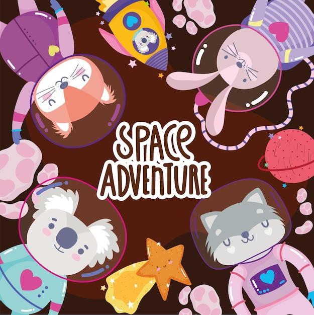 L'avventura spaziale esplora il fumetto degli animali nell'illustrazione delle tute spaziali Vettore Premium