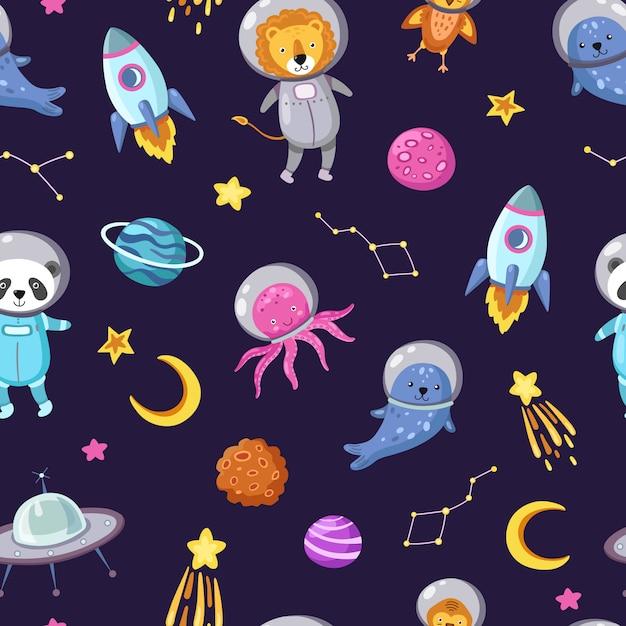 Modello di animali spaziali. carta da parati senza cuciture dell'universo del ragazzo divertente dell'astronauta dei cosmonauti animali domestici astronauti svegli del bambino del volo Vettore Premium
