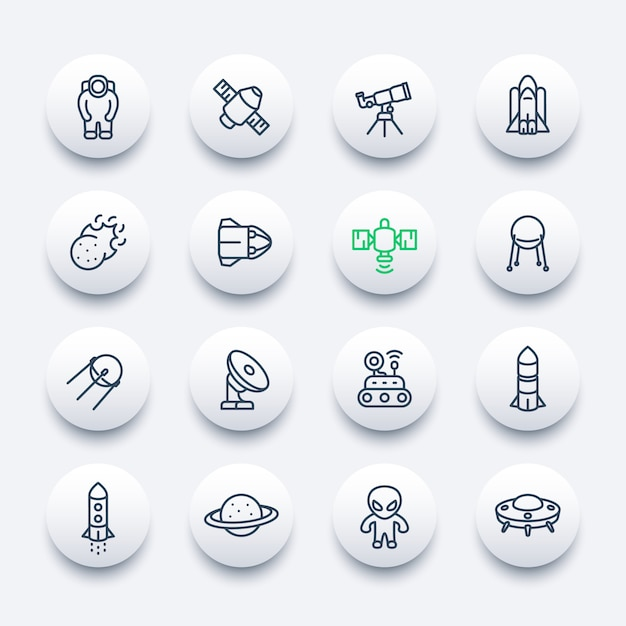 Set di icone di spazio e astronomia Vettore Premium
