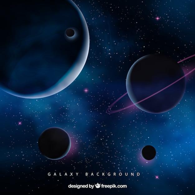 Sfondo dello spazio con i pianeti Vettore Premium
