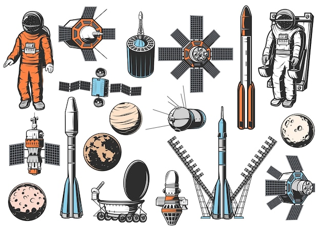 Set di icone di esplorazione dello spazio. astronauta in tuta spaziale su unità di manovra, satelliti naturali e artificiali, booster a razzo, astronavi e pianeti del sistema solare, rover di esplorazione Vettore Premium
