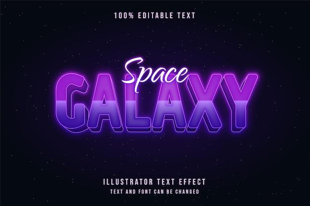 Spazio galassia, 3d testo modificabile effetto rosa gradazione viola neon stile testo Vettore Premium