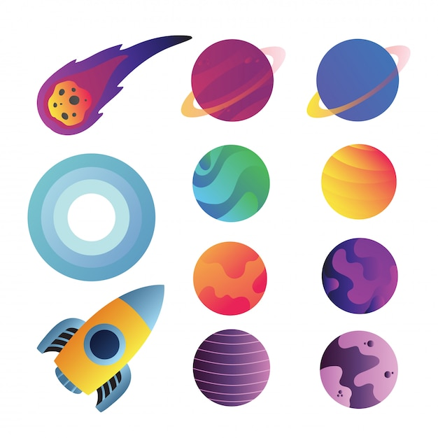 Progettazione della raccolta di vettore delle icone dello spazio Vettore Premium