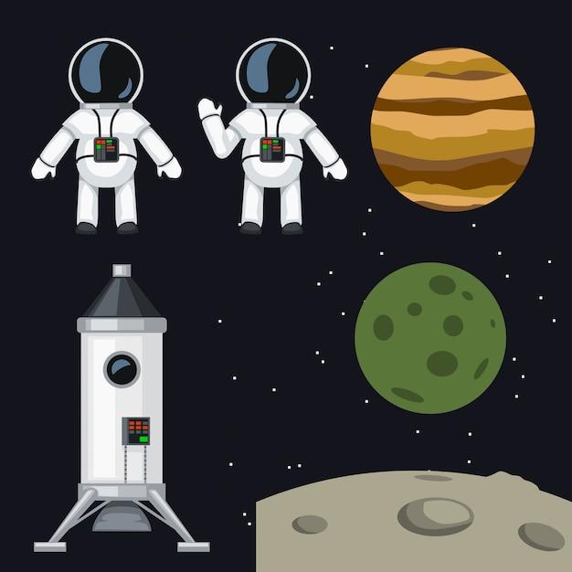 Programma spaziale impostato Vettore Premium