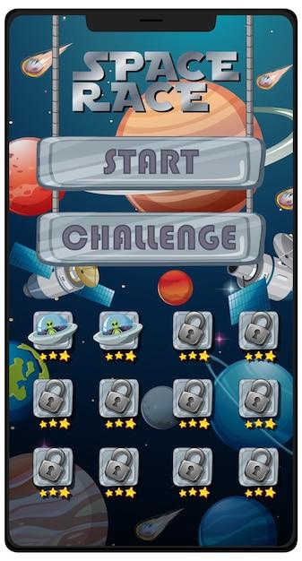 Gioco di missione di corsa allo spazio sullo schermo dello smartphone Vettore Premium