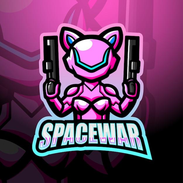 Illustrazione di logo esport della mascotte della guerra spaziale Vettore Premium