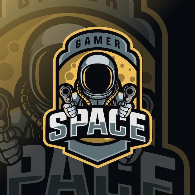 Logo esport della mascotte della guerra spaziale Vettore Premium