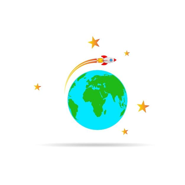 La navicella spaziale vola intorno al globo terrestre. illustrazione vettoriale. Vettore Premium