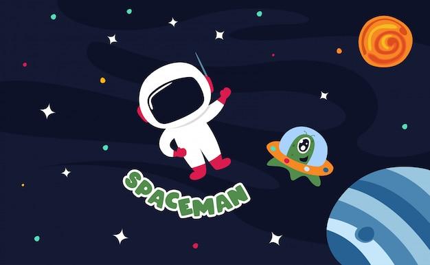 Astronauta nello spazio cosmico con tutte le stelle e l'illustrazione dei pianeti Vettore Premium