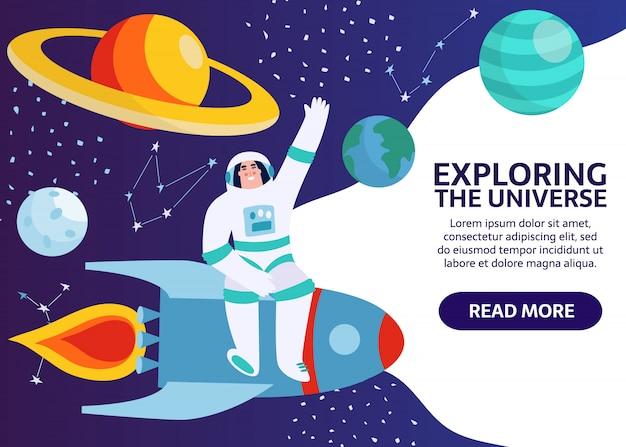 Spaceman nello spazio esterno con stelle, luna, rucola, asteroidi, costellazioni sullo sfondo. astronauta fuori dall'astronave che esplora l'universo e la galassia. cosmonauta del fumetto nella bandiera della tuta spaziale. Vettore Premium
