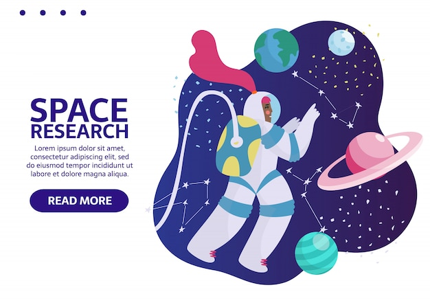 Spaceman nello spazio esterno con stelle, luna, razzi, asteroidi, costellazioni. astronauta donna fuori dall'astronave esplorando l'universo e la galassia. banner con il posto per il tuo testo. Vettore Premium