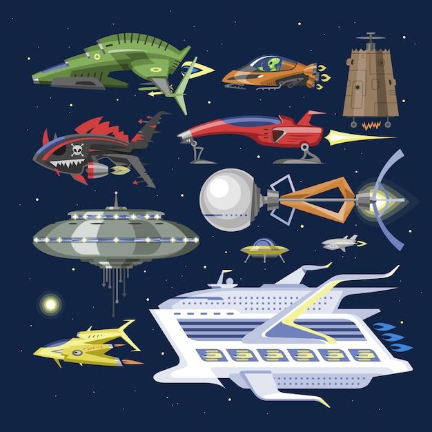 Astronave navicella spaziale o razzo e spacy ufo illustrazione set di nave spaziata o razzo spaziale nello spazio universo su sfondo Vettore Premium