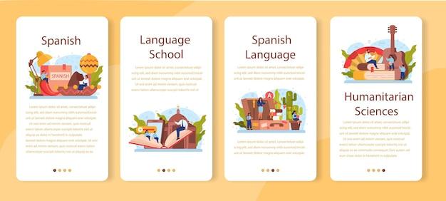 Set di banner per applicazioni mobili di apprendimento spagnolo. corso di spagnolo della scuola di lingue. Vettore Premium