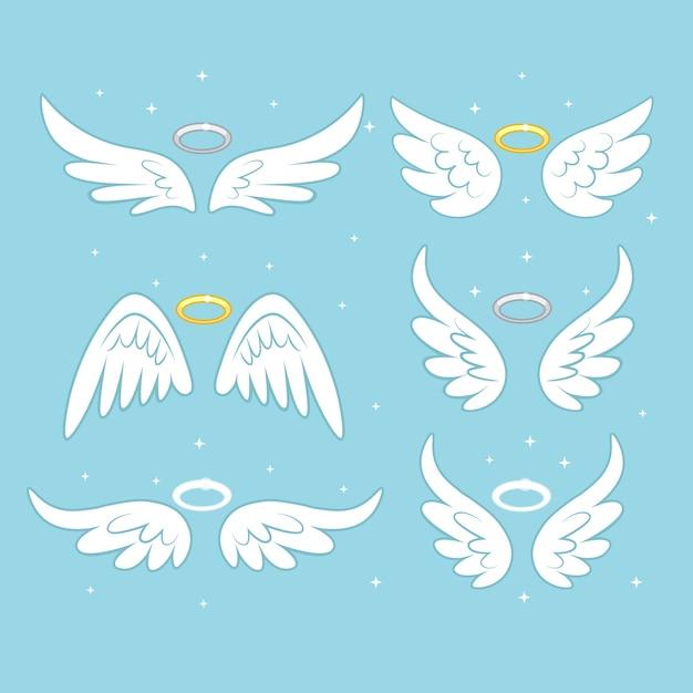 Sparkle ali di fata angelo con nimbo d'oro, alone isolato su sfondo. Vettore Premium