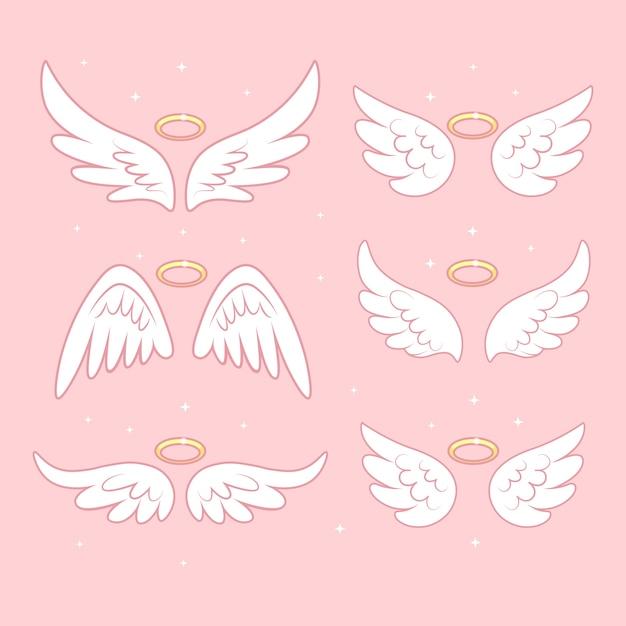 Sparkle ali di fata angelo con aureola d'oro Vettore Premium