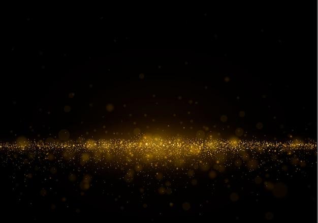 Polvere magica scintillante e particelle dorate su sfondo nero. Vettore Premium
