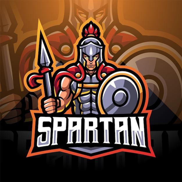 Spartan esport mascotte logo design Vettore Premium