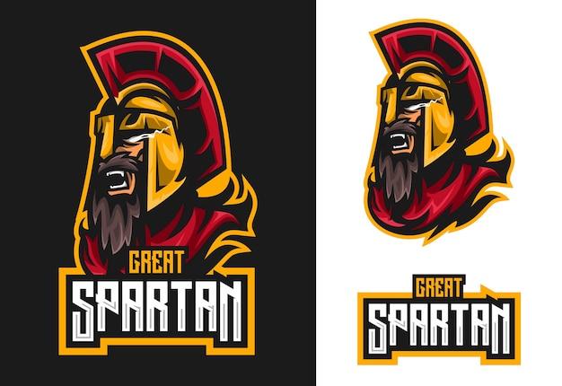 Mascotte spartano esport logo design Vettore Premium