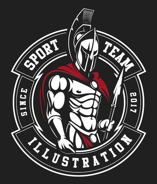 Un modello di logo di guerriero spartano Vettore Premium